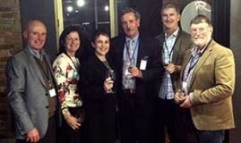 L-R: Alister Purbrick (Tahbilk), Wendy Killeen (Stanton and Killeen Wines), Minister Pulford, Ross Brown (Brown Brothers), Damien Sheehan (WV Chair), Lindsay McCall (Paringa Estate)