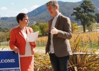 Minister for Agriculture and Regional Development the Hon Jaala Pulford with Wine Victoria Chair Damien Sheehan